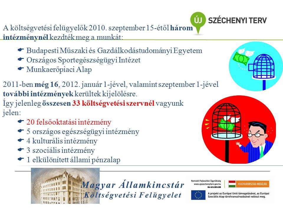Magyar Államkincstár Költségvetési Felügyelet A felügyelt intézmények súlya 2012-ben az összes intézményi költségvetéshez és az elkülönített alapok költségvetéséhez viszonyítva Felügyelt intézmények a teljes költségvetés 26,4%-át teszik ki megoszlása