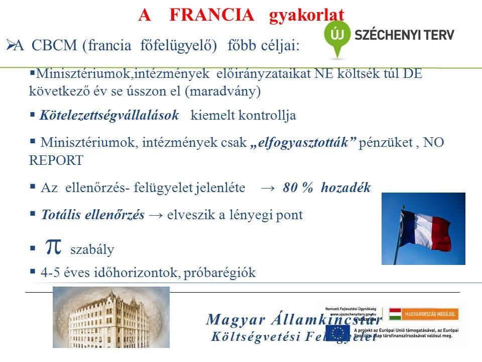 Magyar Államkincstár Költségvetési Felügyelet A FRANCIA gyakorlat  A CBCM (francia főfelügyelő) főbb céljai:  Minisztériumok,intézmények előirányzat