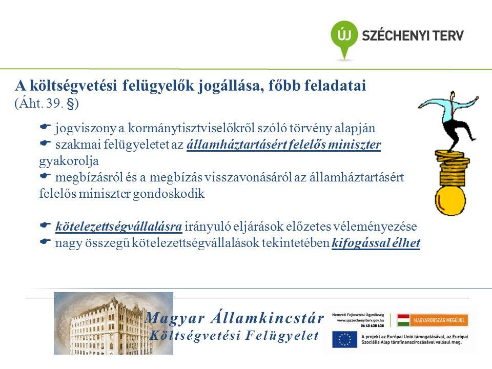 Magyar Államkincstár Költségvetési Felügyelet A felügyelt egészségügyi intézmények:  Balatonfüredi Állami Szívkórház (2,5 Mrd Ft)  az intézményi szabályzatok áttekintése megtörtént, az aktualizálásra vonatkozó javaslatokat az intézmény elfogadta, átvezette  felügyelői észrevétel alapján a fenntartónál alapító okirat módosítást kezdeményeztek  megkötött szerződések előzetes felügyelői vizsgálata során tett észrevételeket beépítették; kiegészítések történtek garanciális és vagyonkérdések vonatkozásában  Országos Orvosi Rehabilitációs Intézet (2,5 Mrd Ft)  46 milliótól 250 millióig ( 2012 )