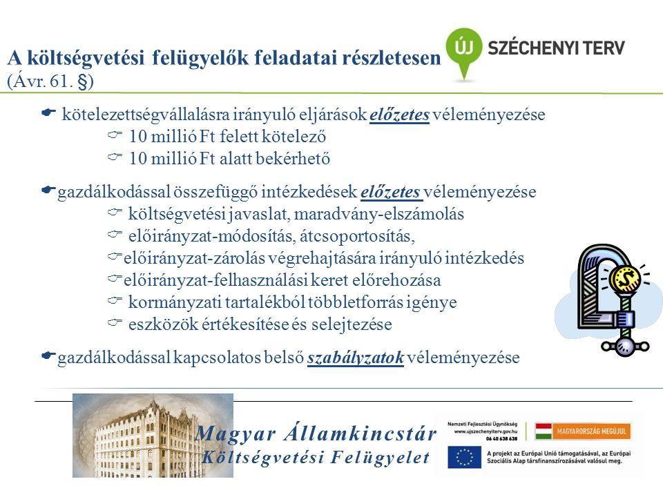 Magyar Államkincstár Költségvetési Felügyelet A költségvetési felügyelők feladatai részletesen (Ávr. 61. §)  kötelezettségvállalásra irányuló eljárás