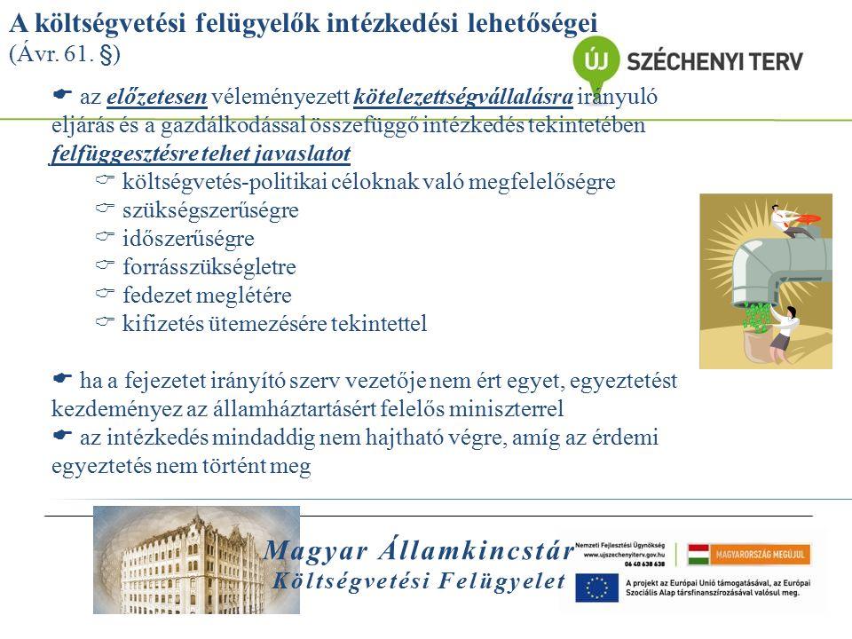 Magyar Államkincstár Költségvetési Felügyelet A felügyelt felsőoktatási intézmények:  Budapesti Műszaki és Gazdálkodástudományi Egyetem (27,3 Mrd Ft)  kiegyensúlyozott gazdálkodás, alacsony tartozásállomány  a felügyelők a legmagasabb szintű gazdasági fórumokon is részt vesznek  2012-ben a felügyelők közreműködésével 1 Mrd Ft beruházás halasztása  erős kari gazdálkodás, megbízási szerződések rendszeres vizsgálata  Pécsi Tudományegyetem (59,9 Mrd Ft)  adósságállomány folyamatos figyelemmel kísérése, adósságspirál okainak feltárása (klinikai tevékenység kockázata)  karok virtuális megtakarításainak befagyasztása  klinikai veszteség mérséklésére való törekvés, 700 millió Ft-os megtakarítás intézkedési terv segítségével  Corvinus Egyetem (11,3 Mrd Ft)  Egyetem döntési fórumain való aktív részvétel, 2013.