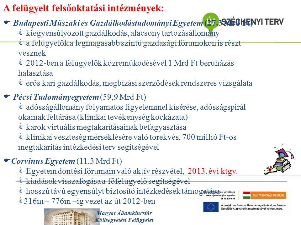 Magyar Államkincstár Költségvetési Felügyelet A felügyelt felsőoktatási intézmények:  Budapesti Műszaki és Gazdálkodástudományi Egyetem (27,3 Mrd Ft)