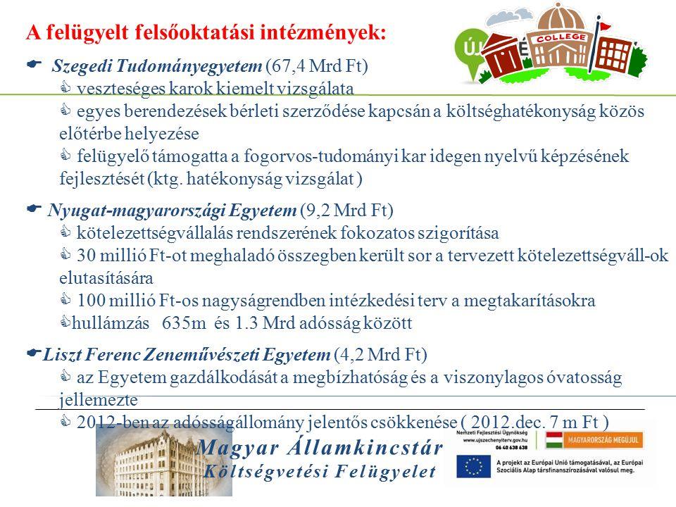 Magyar Államkincstár Költségvetési Felügyelet A felügyelt felsőoktatási intézmények:  Semmelweis Egyetem (59,0 Mrd Ft)  Testnevelési Kar gazdálkodásának kiemelt figyelemmel kísérése; karbantartási szerződéseinek vizsgálata  közbeszerzés szervezeti átalakítása, a teljes beszerzési folyamat újraszabályozása a felügyelő részvételével  főfelügyelői közreműködéssel felgyorsult, hatékonyabbá vált a követelések behajtása  Debreceni Egyetem (57,2 Mrd Ft)  Egyetem döntéshozó fórumain való részvétel  intézményfejlesztési terv módosítása és kiegészítése új elemekkel  135 m - 1.8 Md forintig rögös az út  Kaposvári Egyetem (8,9 Mrd Ft )  dologi, felhalmozási kiadások megtakarításában való aktivitás  Egyetem likviditásának, adósságállományának javulásában közreműködés  a kiadások visszafogása intenzív Főfelügyelői részvétellel