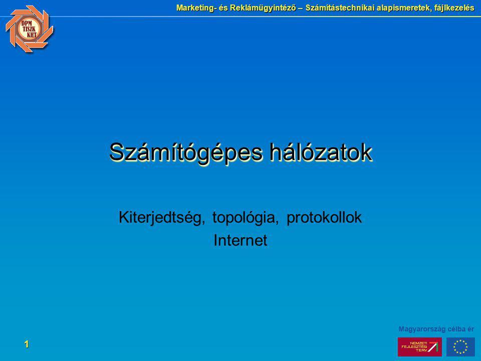 Marketing- és Reklámügyintéző – Számítástechnikai alapismeretek, fájlkezelés 1 Számítógépes hálózatok Kiterjedtség, topológia, protokollok Internet