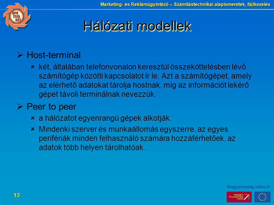 Marketing- és Reklámügyintéző – Számítástechnikai alapismeretek, fájlkezelés 13 Hálózati modellek  Host-terminal  két, általában telefonvonalon kere