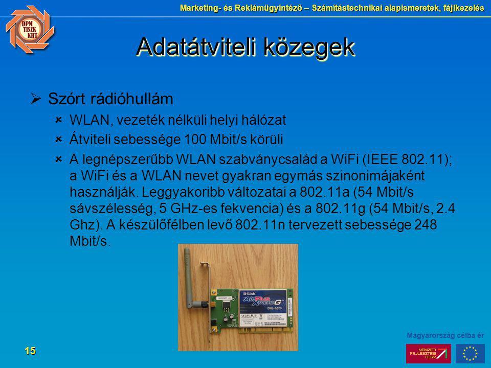 Marketing- és Reklámügyintéző – Számítástechnikai alapismeretek, fájlkezelés 15 Adatátviteli közegek  Szórt rádióhullám  WLAN, vezeték nélküli helyi