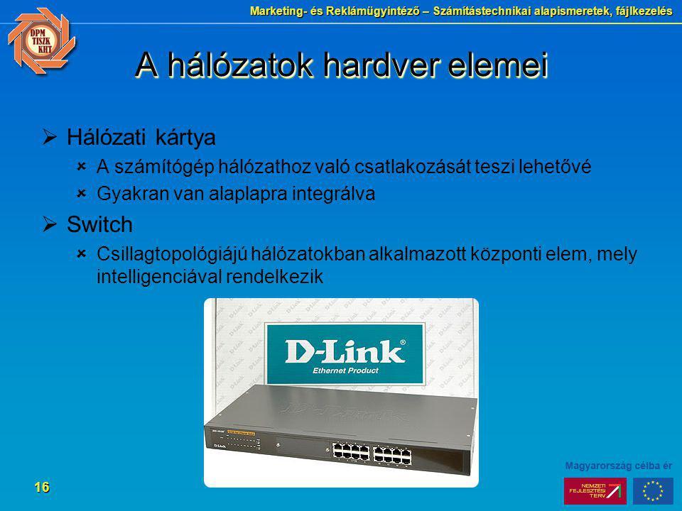 Marketing- és Reklámügyintéző – Számítástechnikai alapismeretek, fájlkezelés 16 A hálózatok hardver elemei  Hálózati kártya  A számítógép hálózathoz