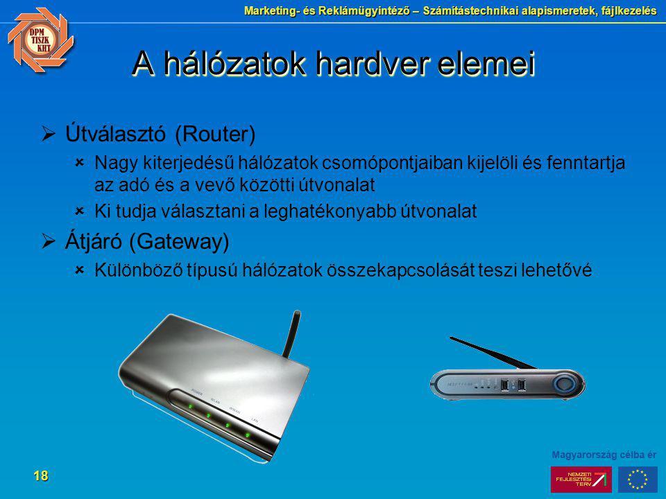 Marketing- és Reklámügyintéző – Számítástechnikai alapismeretek, fájlkezelés 18 A hálózatok hardver elemei  Útválasztó (Router)  Nagy kiterjedésű há