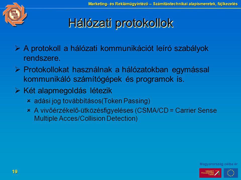 Marketing- és Reklámügyintéző – Számítástechnikai alapismeretek, fájlkezelés 19 Hálózati protokollok  A protokoll a hálózati kommunikációt leíró szab