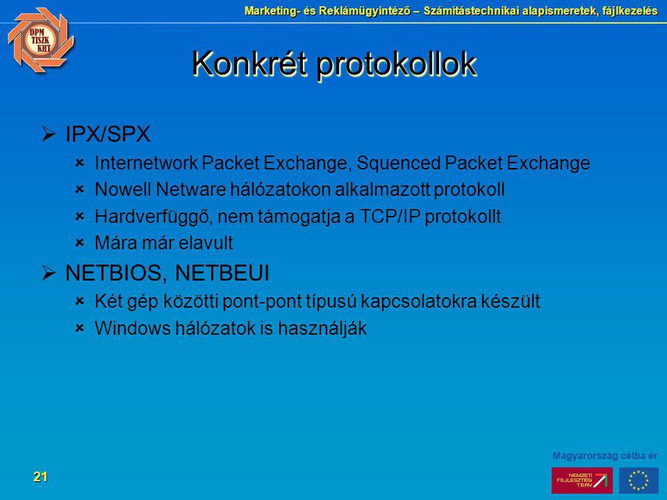 Marketing- és Reklámügyintéző – Számítástechnikai alapismeretek, fájlkezelés 21 Konkrét protokollok  IPX/SPX  Internetwork Packet Exchange, Squenced