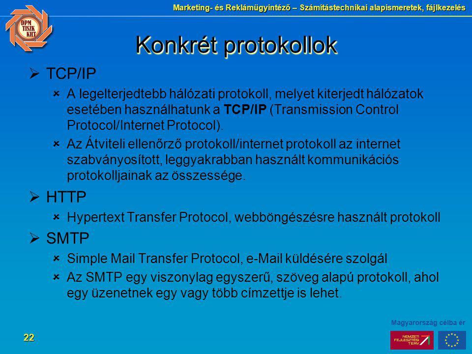 Marketing- és Reklámügyintéző – Számítástechnikai alapismeretek, fájlkezelés 22 Konkrét protokollok  TCP/IP  A legelterjedtebb hálózati protokoll, m