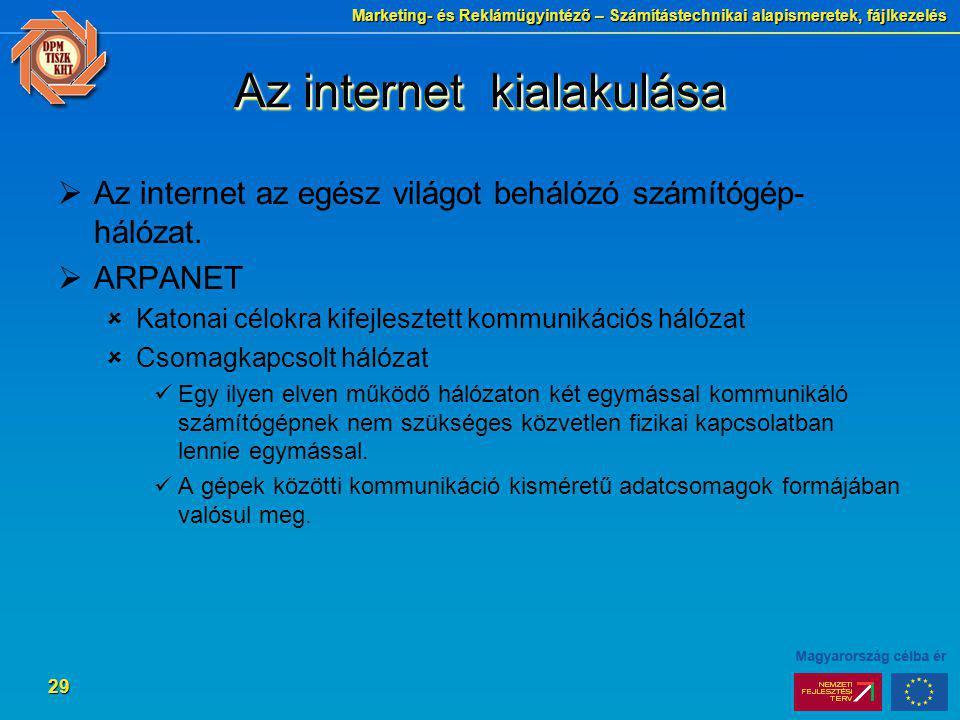 Marketing- és Reklámügyintéző – Számítástechnikai alapismeretek, fájlkezelés 29 Az internet kialakulása  Az internet az egész világot behálózó számít