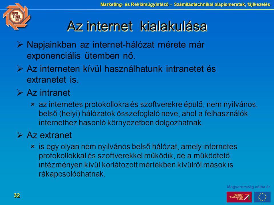 Marketing- és Reklámügyintéző – Számítástechnikai alapismeretek, fájlkezelés 32 Az internet kialakulása  Napjainkban az internet-hálózat mérete már e