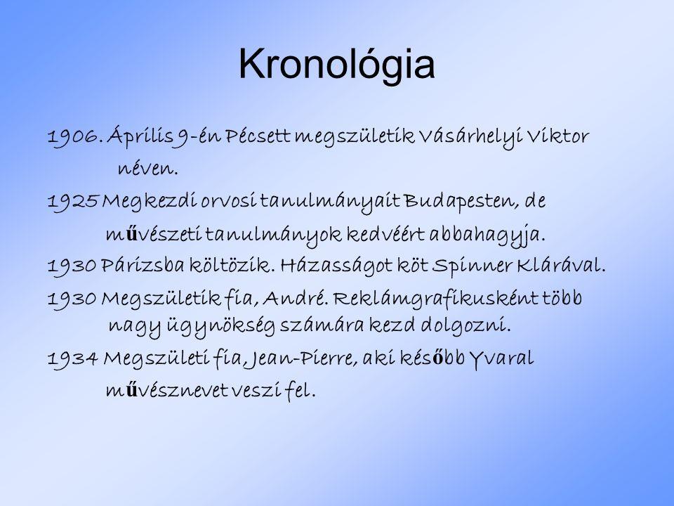 Kronológia 1906. Április 9-én Pécsett megszületik Vásárhelyi Viktor néven. 1925 Megkezdi orvosi tanulmányait Budapesten, de m ű vészeti tanulmányok ke