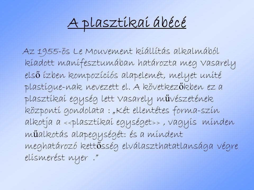 A plasztikai ábécé Az 1955-ös Le Mouvement kiállítás alkalmából kiadott manifesztumában határozta meg Vasarely els ő ízben kompozíciós alapelemét, mel