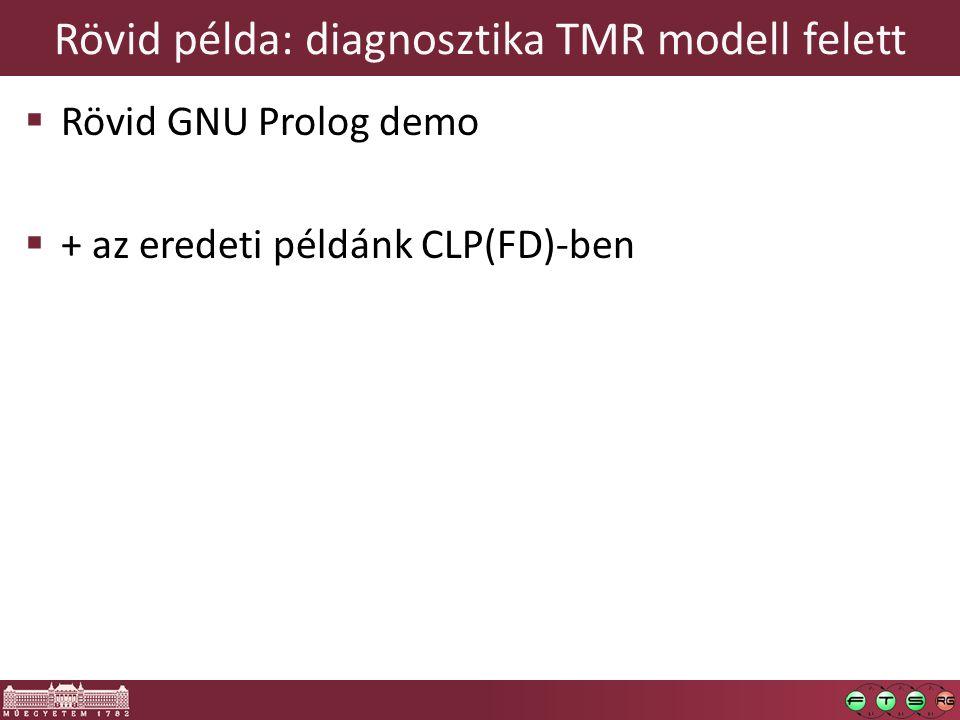 Rövid példa: diagnosztika TMR modell felett  Rövid GNU Prolog demo  + az eredeti példánk CLP(FD)-ben