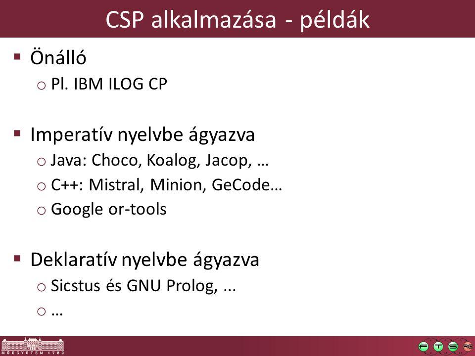 CSP alkalmazása - példák  Önálló o Pl.