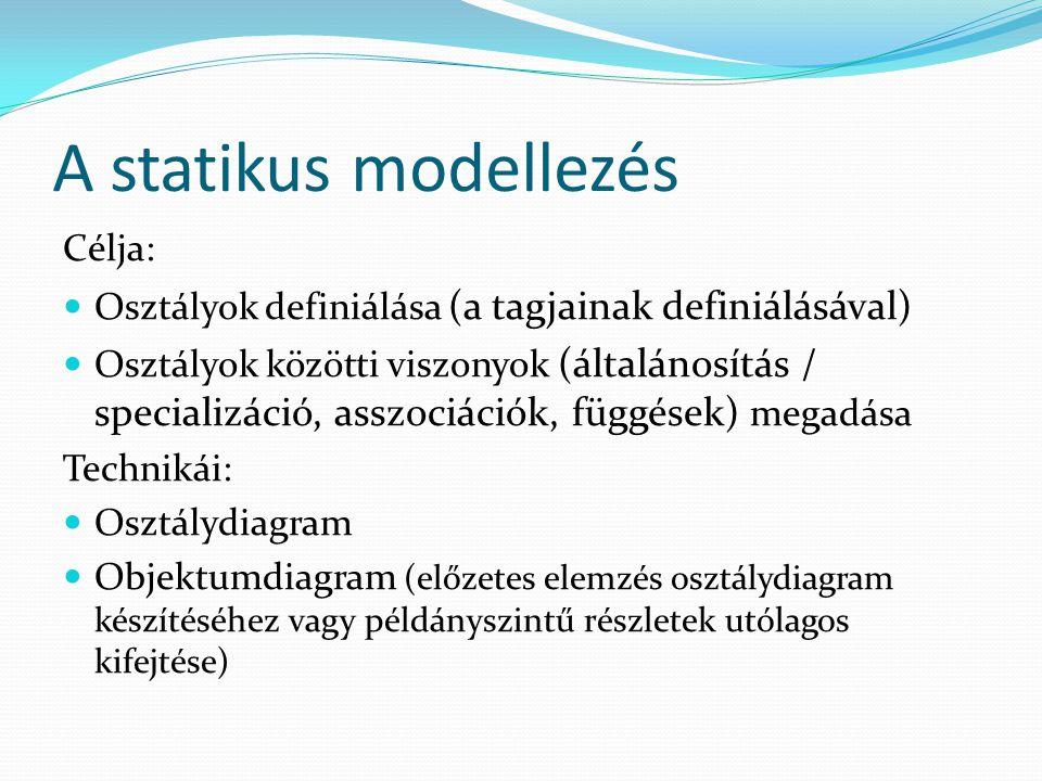 A statikus modellezés Célja: Osztályok definiálása (a tagjainak definiálásával) Osztályok közötti viszonyok (általánosítás / specializáció, asszociáci