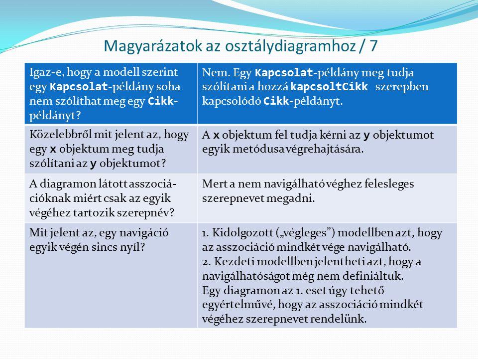Magyarázatok az osztálydiagramhoz / 7 Igaz-e, hogy a modell szerint egy Kapcsolat -példány soha nem szólíthat meg egy Cikk - példányt? Nem. Egy Kapcso