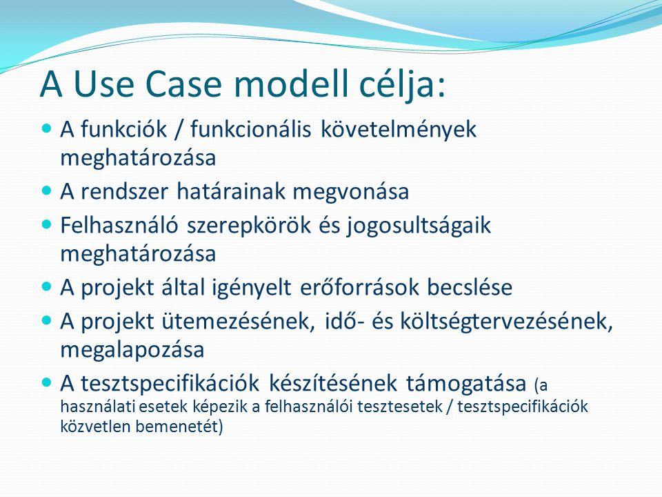 A Use Case modell célja: A funkciók / funkcionális követelmények meghatározása A rendszer határainak megvonása Felhasználó szerepkörök és jogosultsága