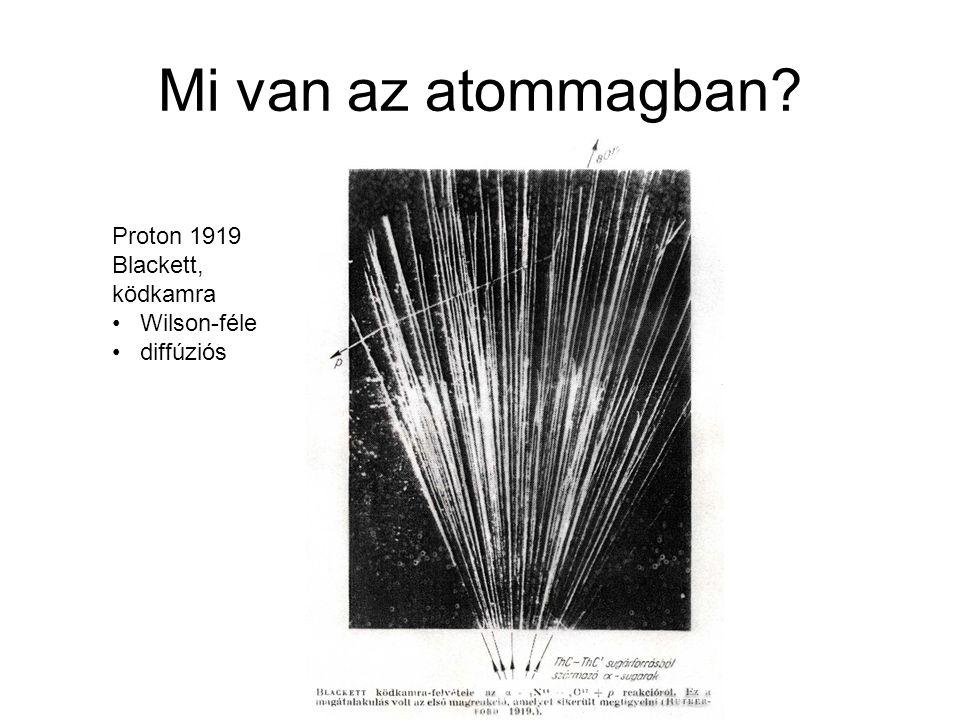 Mi van az atommagban? Proton 1919 Blackett, ködkamra Wilson-féle diffúziós