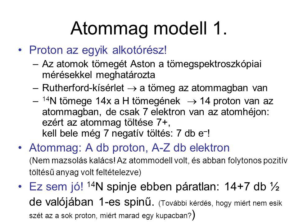 Atommag modell 1. Proton az egyik alkotórész! –Az atomok tömegét Aston a tömegspektroszkópiai mérésekkel meghatározta –Rutherford-kísérlet  a tömeg a
