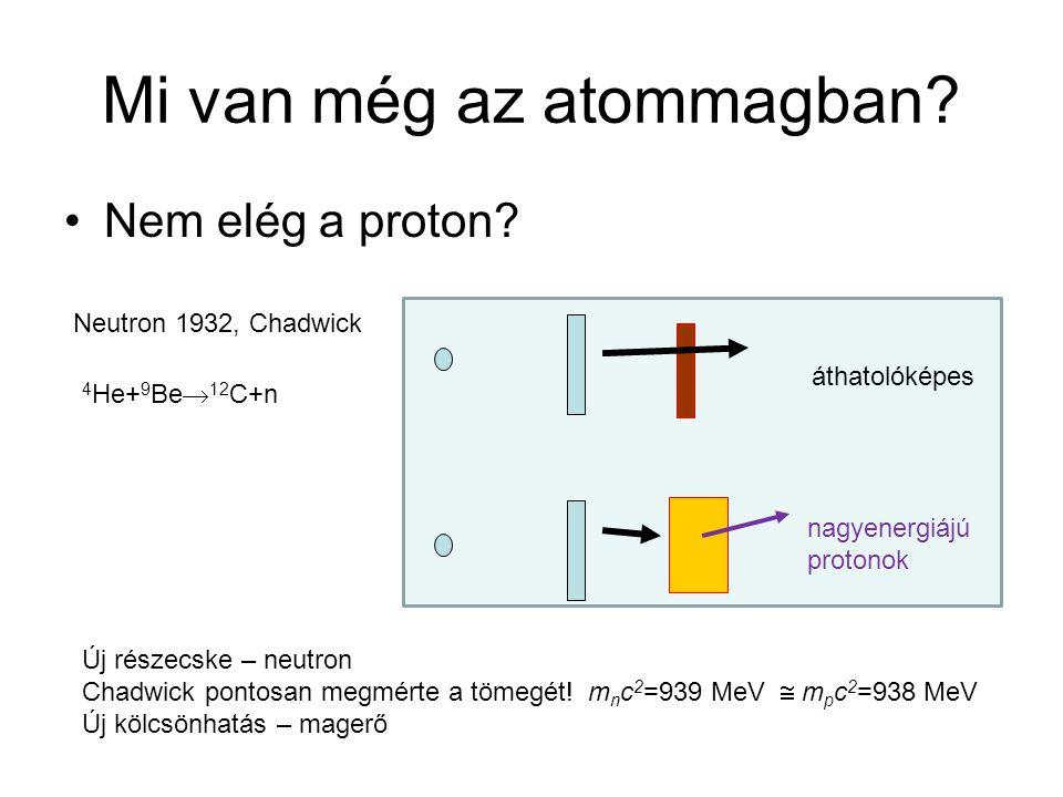 Mi van még az atommagban? Nem elég a proton? nagyenergiájú protonok áthatolóképes Új részecske – neutron Chadwick pontosan megmérte a tömegét! m n c 2