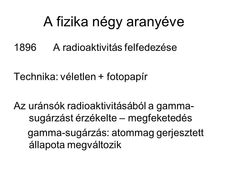 A fizika négy aranyéve 1896 A radioaktivitás felfedezése Technika: véletlen + fotopapír Az uránsók radioaktivitásából a gamma- sugárzást érzékelte – m