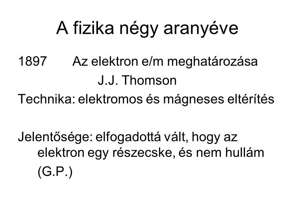 A fizika négy aranyéve 1897 Az elektron e/m meghatározása J.J. Thomson Technika: elektromos és mágneses eltérítés Jelentősége: elfogadottá vált, hogy