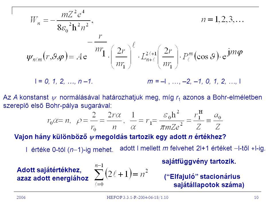 2006 HEFOP 3.3.1-P.-2004-06-18/1.10 10 l = 0, 1, 2, , n –1.