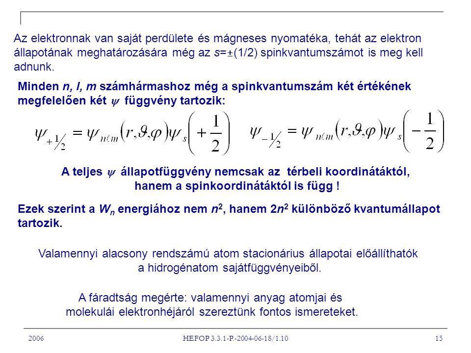 2006 HEFOP 3.3.1-P.-2004-06-18/1.10 15 Az elektronnak van saját perdülete és mágneses nyomatéka, tehát az elektron állapotának meghatározására még az s=  (1/2) spinkvantumszámot is meg kell adnunk.