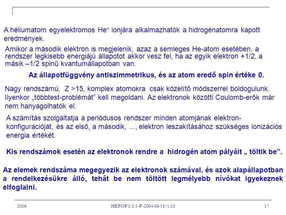 2006 HEFOP 3.3.1-P.-2004-06-18/1.10 17 A héliumatom egyelektromos He + ionjára alkalmazhatók a hidrogénatomra kapott eredmények.