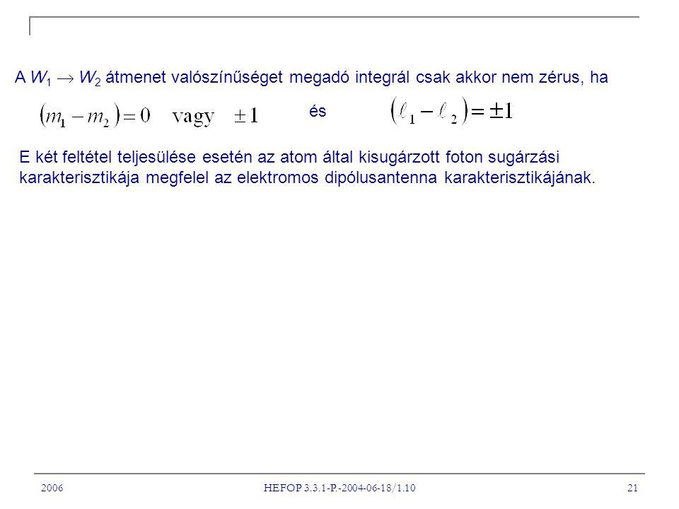 2006 HEFOP 3.3.1-P.-2004-06-18/1.10 21 A W 1  W 2 átmenet valószínűséget megadó integrál csak akkor nem zérus, ha és E két feltétel teljesülése esetén az atom által kisugárzott foton sugárzási karakterisztikája megfelel az elektromos dipólusantenna karakterisztikájának.