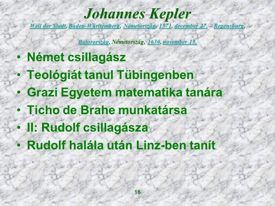 16 Johannes Kepler Weil der Stadt, Baden-Württemberg, Németország, 1571.