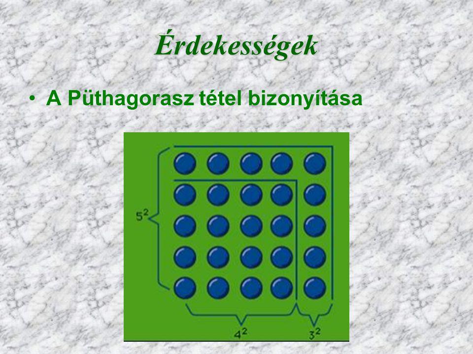 6 Érdekességek A Püthagorasz tétel bizonyítása
