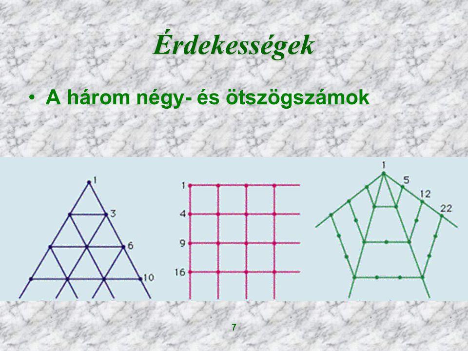 7 Érdekességek A három négy- és ötszögszámok
