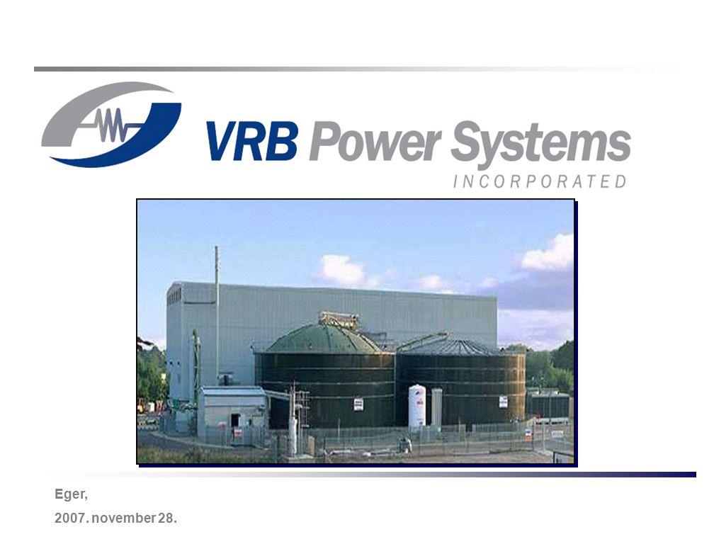 Energy Storage & Power Quality Solutions -22- VRB-ESS jelentős költségcsökkentése a gyártott darabszám növekedésével Projected VRB-ESS Cost at Various Manufacturing Volumes (as % of 2006 Cost) 0% 10% 20% 30% 40% 50% 60% 70% 80% 90% 100% Current (2006)10 MW100 MW Cumulative Manufactured Volume Total System Cost PCS and ControlsBalance of PlantCell StacksElectrolyte 100% 89% 69%