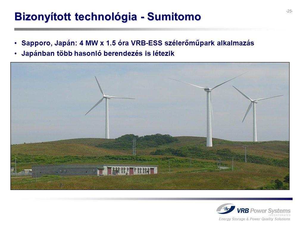 Energy Storage & Power Quality Solutions -25- Bizonyított technológia - Sumitomo Sapporo, Japán: 4 MW x 1.5 óra VRB-ESS szélerőműpark alkalmazás Japánban több hasonló berendezés is létezik