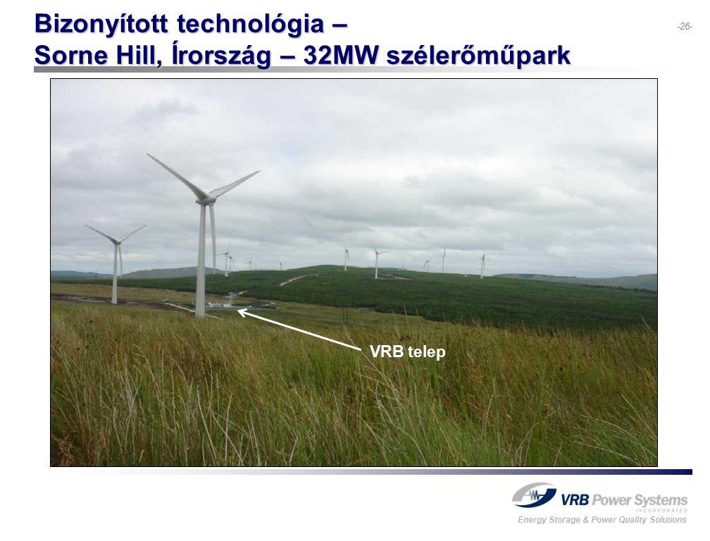 Energy Storage & Power Quality Solutions -26- Bizonyított technológia – Sorne Hill, Írország – 32MW szélerőműpark VRB telep