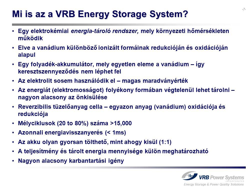 Energy Storage & Power Quality Solutions -18- 8:00:00 10:00:00 12:00:0014:00:00 16:00:00 A VRB-ESS (kék) folyamatosan működik a szélpark termelésének (zöld) kisimítására A szélpark névleges teljesítményének 20%-a már jelentős kisimulást eredményez a szélpark+akkumulátor összteljesítményét (piros) tekintve A VRB-ESS egész nap 'intelligensen' töltődik, az 50%-os SOC-t fenntartva J-Power: szélerőmű-teljesítmény napi kisimítása
