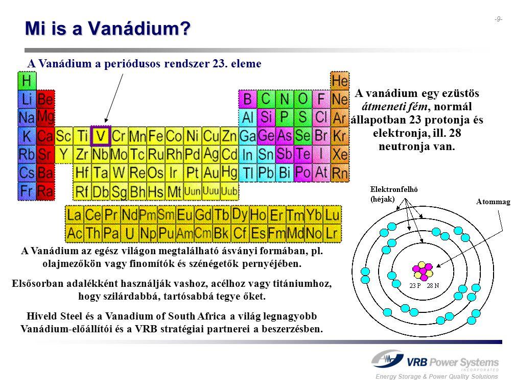 Energy Storage & Power Quality Solutions -9- Mi is a Vanádium? A vanádium egy ezüstös átmeneti fém, normál állapotban 23 protonja és elektronja, ill.