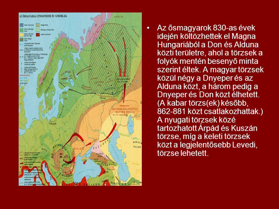 Az ősmagyarok 830-as évek idején költözhettek el Magna Hungariából a Don és Alduna közti területre, ahol a törzsek a folyók mentén besenyő minta szeri