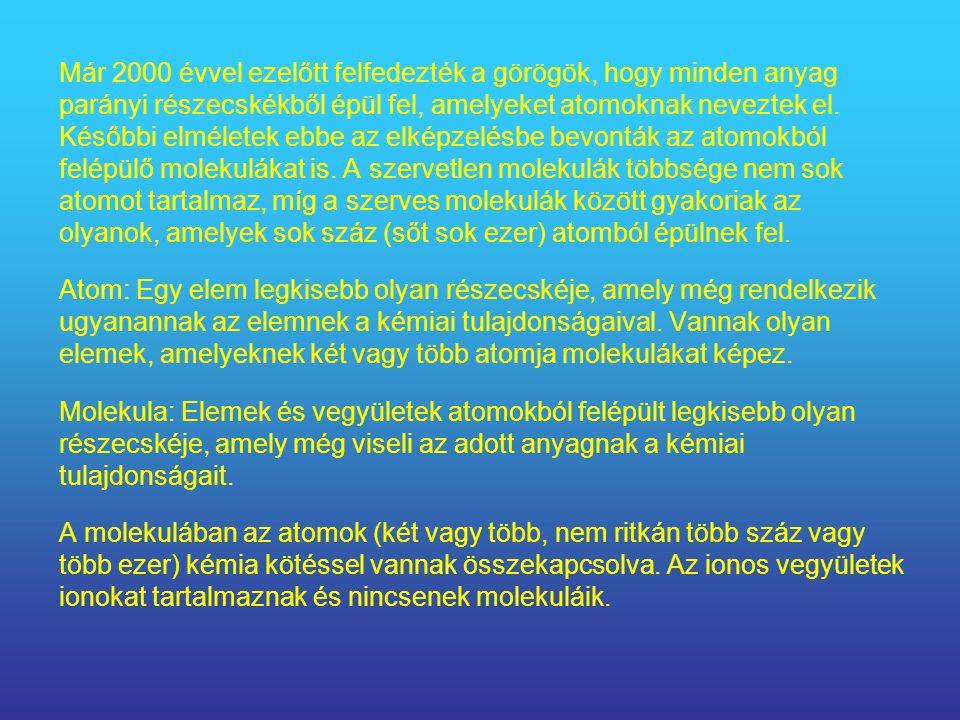 Már 2000 évvel ezelőtt felfedezték a görögök, hogy minden anyag parányi részecskékből épül fel, amelyeket atomoknak neveztek el.
