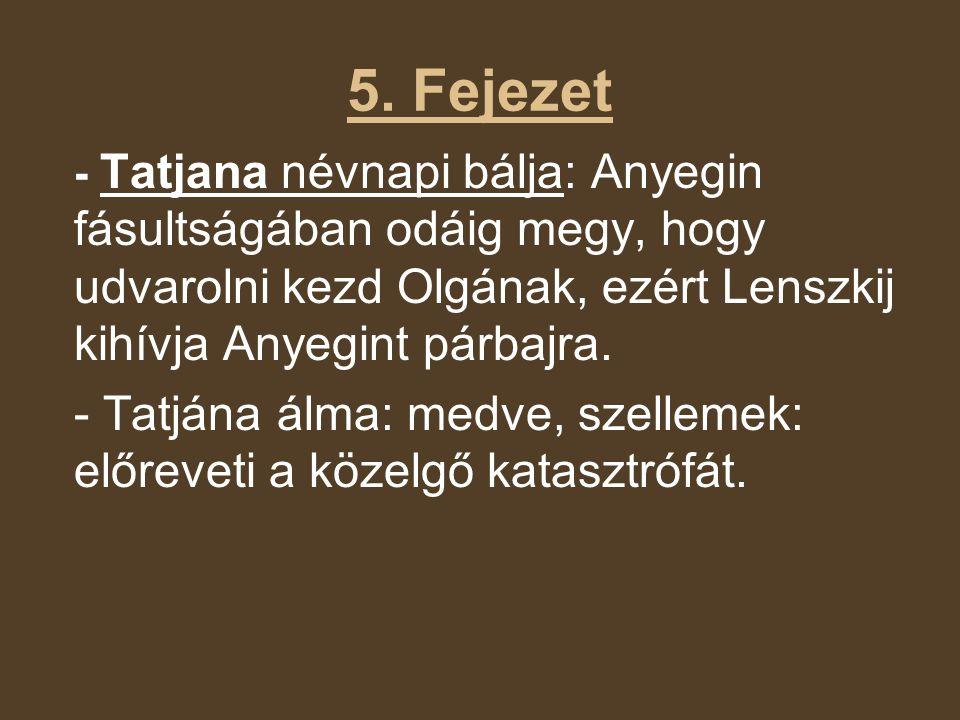 5. Fejezet - Tatjana névnapi bálja: Anyegin fásultságában odáig megy, hogy udvarolni kezd Olgának, ezért Lenszkij kihívja Anyegint párbajra. - Tatjána