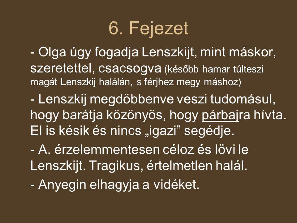 6. Fejezet - Olga úgy fogadja Lenszkijt, mint máskor, szeretettel, csacsogva (később hamar túlteszi magát Lenszkij halálán, s férjhez megy máshoz) - L