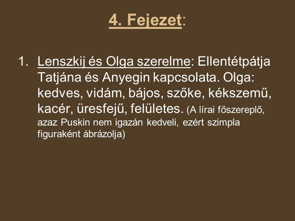 4. Fejezet: 1.Lenszkij és Olga szerelme: Ellentétpátja Tatjána és Anyegin kapcsolata. Olga: kedves, vidám, bájos, szőke, kékszemű, kacér, üresfejű, fe