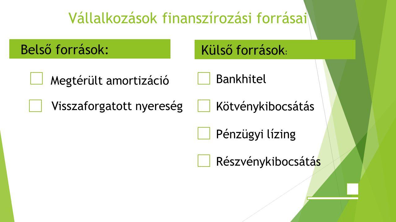 Vállalkozások finanszírozási forrásai Megtérült amortizáció Visszaforgatott nyereség Részvénykibocsátás Bankhitel Kötvénykibocsátás Pénzügyi lízing Belső források: Külső források :