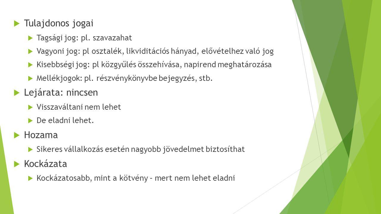  Tulajdonos jogai  Tagsági jog: pl.