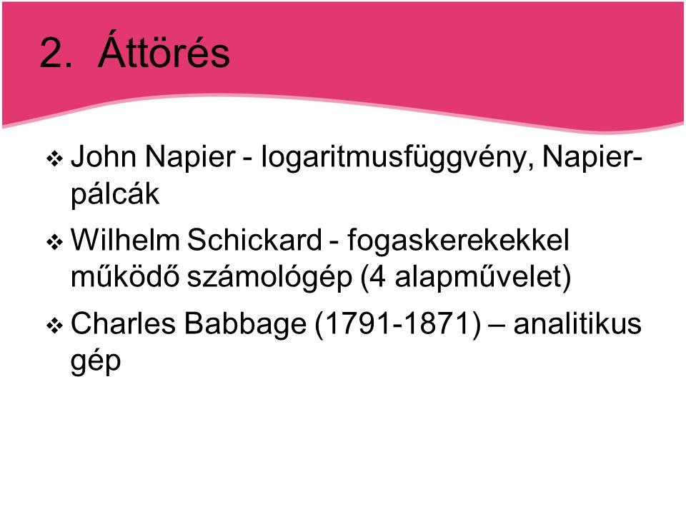 2. Áttörés  John Napier - logaritmusfüggvény, Napier- pálcák  Wilhelm Schickard - fogaskerekekkel működő számológép (4 alapművelet)  Charles Babbag