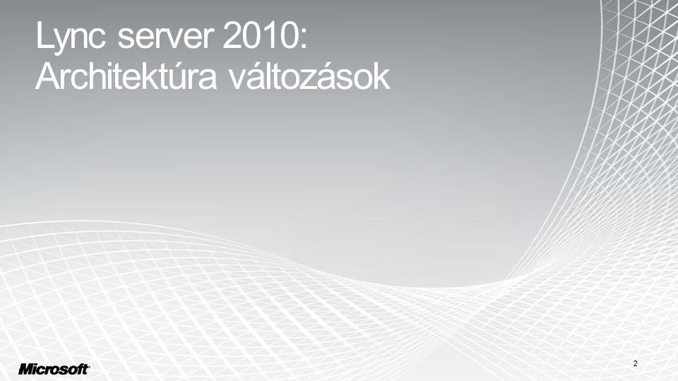 2 Lync server 2010: Architektúra változások
